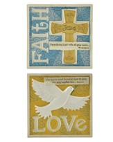 Faith and Love Plaques, Set of 2
