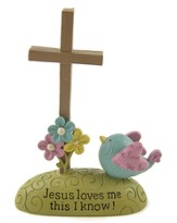 Jesus Loves Me Cross Figurine