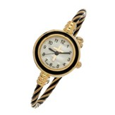 Coil Wrap Watch with Cross, Gold and Black