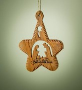Olive Wood Star Nativity Ornament