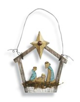 Holy Family Ornament, Natural Wood with Metal