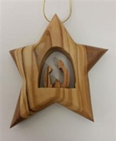 Holy Family Star Ornament, Wood