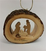 Holy Family Mini Round Bark Ornament