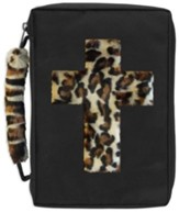 Fur Bible Cover, Leopard Cross Design, X-Large