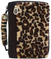 Leopard Fur Bible Cover with a Cross Zipper, Large