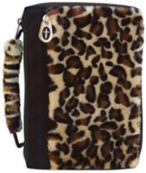 Leopard Fur Bible Cover with a Cross Zipper, Medium