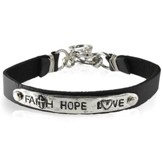 Faith Hope Love Leather Bracelet
