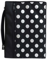 Canvas Bible Cover, Black with Silver Dot, Large