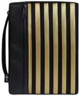 Canvas Bible Cover, Black with Gold Stripe, Medium