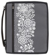 Canvas Bible Organizer, Gray with White Lace, Large