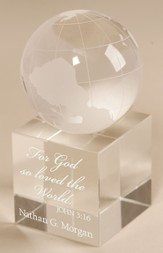 Personalized, For God So Loved the World Crystal Globe