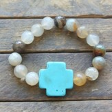 Grey Marbled Beaded Bracelet with Turquoise Cross