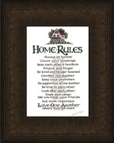 Home Rules, Mahogany Burl Framed Print