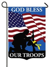 God Bless Our Troops, Applique Flag, Small