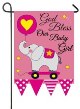 God Bless Our Baby Girl, Applique Flag, Small