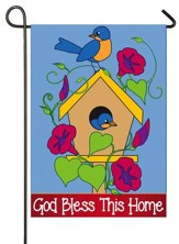 God Bless This Home, Applique Flag, Small
