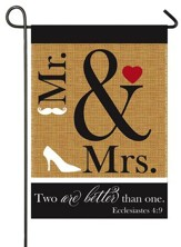 Mr. and Mrs., Two Are Better Than One, Applique Flag, Small