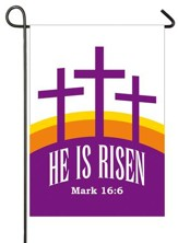 Three Crosses, He Is Risen, Applique Flag, Small
