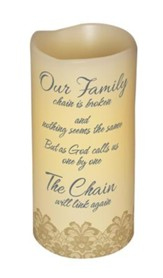 Abiding Light LED Candle, Vanilla Scented, Our Family Chain, 6x3