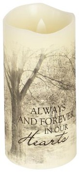 Everlasting Glow LED Candles, Vanilla Scented, Forever in Our Hearts, 6x3