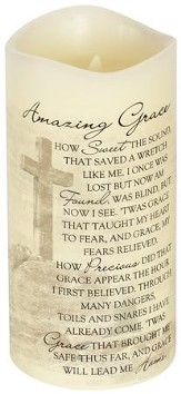 Everlasting Glow LED Candle, Vanilla Scented, Amazing Grace, 8x4