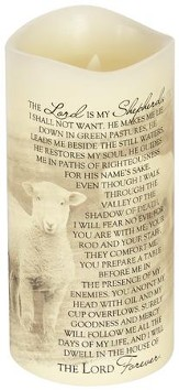Everlasting Glow LED Candle, Vanilla Scented, 23rd Psalm, 8x4
