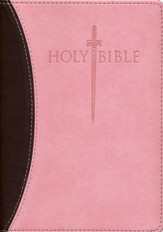 KJVer (Easy Reader) Large Print Sword Study Bible, Personal Size, Ultrasoft Chocolate/Pink, Thumb Indexed