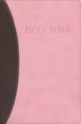 KJVer (Easy Reader) Large Print Thinline Bible, Ultrasoft Chocolate/Pink, Thumb Indexed