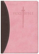 KJV Large Print Sword Study Bible, Ultrasoft Chocolate/Pink, Thumb Indexed