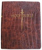 KJV Giant Print Sword Study Bible, Ultrasoft Walnut Alligator, Thumb Indexed