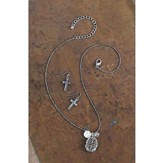 Antique Silver And Gold And Copper Wax Stamped Inspired Equestrian Necklace Set