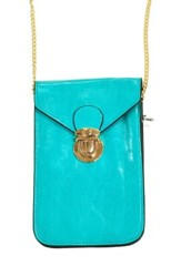 Crossbody Phone Case with Chain, Turquoise
