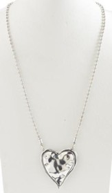 Hammered Puff Heart Antique Silver Necklace
