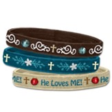 He Loves Me Stretch Bracelets, Set of 3