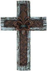 Fleur De Lis Wall Cross with Turquoise