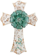 Wall Cross with Turquoise Flower