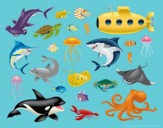 Ocean Commotion VBS Reusable Sticker Set (Pack of 3)
