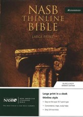 NAS Thinline Bible, Large Print, Bonded Leather Burgundy
