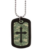 Digital Camo Cross, Tag Necklace