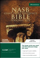 NAS Giant Print Reference Bible, Personal Size, Bonded leather,  Black, Thumb-Indexed - Imperfectly Imprinted Bibles