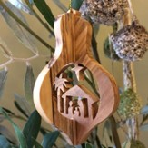 Creche Nativity 3-D Olive Wood Ornament, Large