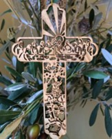 Cross with Last Supper Scene Olivewood Ornament