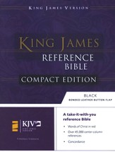 KJV Compact Reference Bible, Button Flap, Immitation Navy Blue Leather
