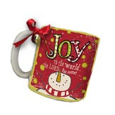 Joy To the World, The Lord Has Come Mug, with Ribbon and Jingle Bell, Red, White, Green