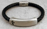 Black Braided Leather Bracelet with Pewter bar, Cross