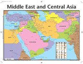Middle East and Central Asia Map, Laminated Wall Chart