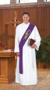 Alpha Omega Deacon Stole, Purple