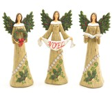 Holly Angel Figurines, set of 3