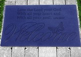 Love the Lord, Welcome Door Mat Butterfly (Welcome; Luke 10:27)