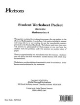 Horizons Mathematics Grade 4 Student worksheet packet